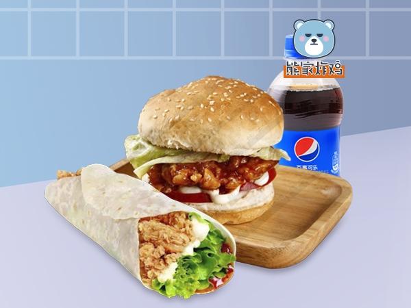 汉堡鸡肉卷  百事